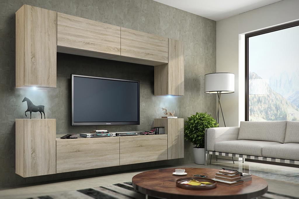 anbauwand wohnwand 7 tlg bristol schwarz sonoma hochglanz matt 651650166501 ebay. Black Bedroom Furniture Sets. Home Design Ideas