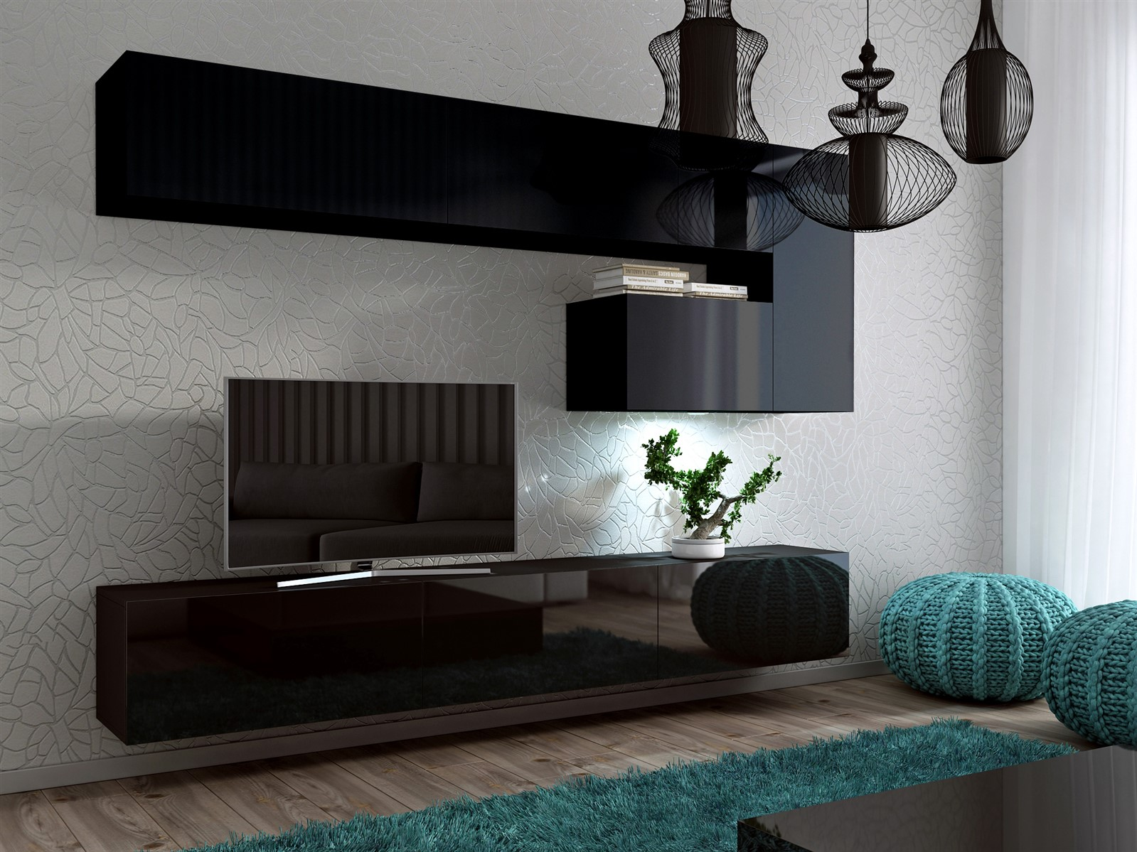 Mediawand Wohnwand 8 Tlg  Konzept 15  Schwarz HGL Mit LED Beleuchtung