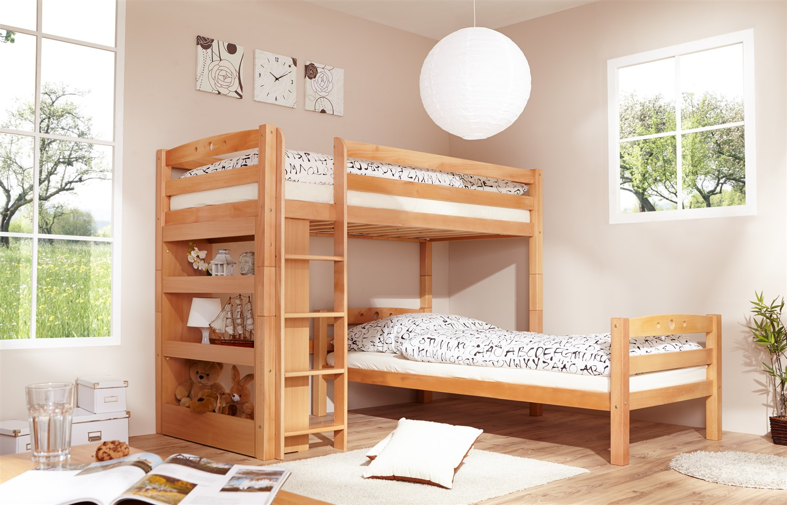hochbett etagenbett spielbett oli buche massiv. Black Bedroom Furniture Sets. Home Design Ideas